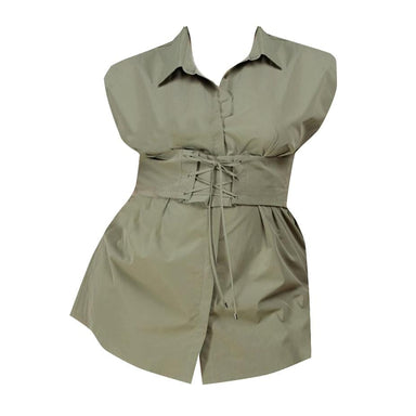 Corseted Plus Shirt Dress - Olive - Posh Shoppe
