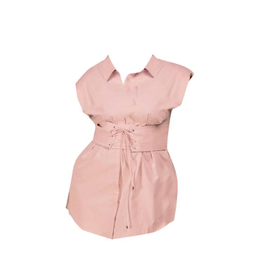 Corseted Plus Shirt Dress - Pink - Posh Shoppe