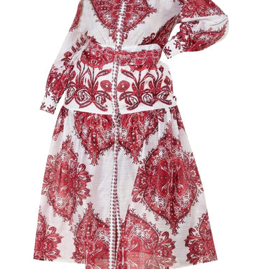 Posh Shoppe: Crimson Paisley Print Maxi Dress Dress