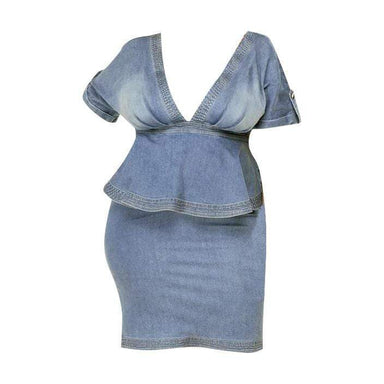 Posh Shoppe: Plus Size Denim Peplum Dress Dress