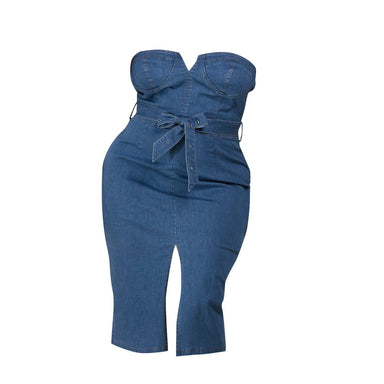 Denim Tube Plus Midi Dress - Posh Shoppe