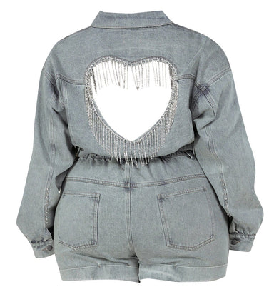 Denim Two-Piece Plus Jacket Set - Posh Shoppe