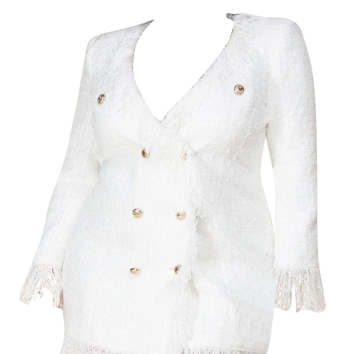 Dreamy White Tweed Blazer Dress - Posh Shoppe