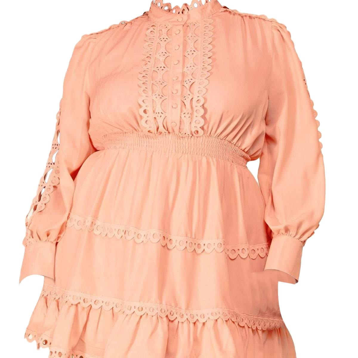 Posh Shoppe: Lace Long Sleeve Dress in Pink Dress