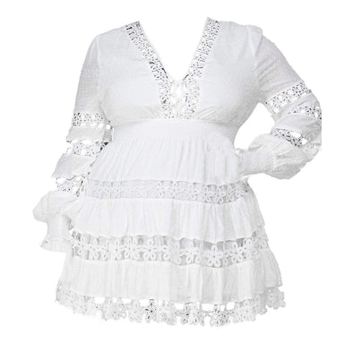Posh Shoppe: Lace Long Sleeve Mini Dress - White Dress