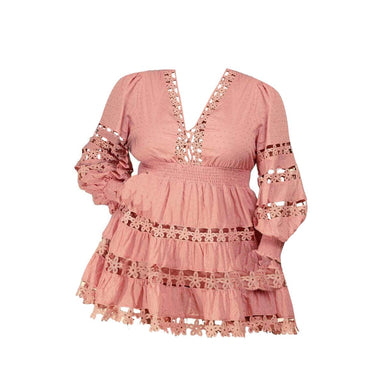 Posh Shoppe: Lace Long Sleeve Mini Dress-Mauve Dress