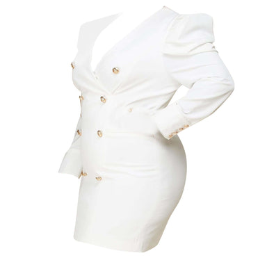 Posh Shoppe: Blazer Mini Dress - White Outerwear