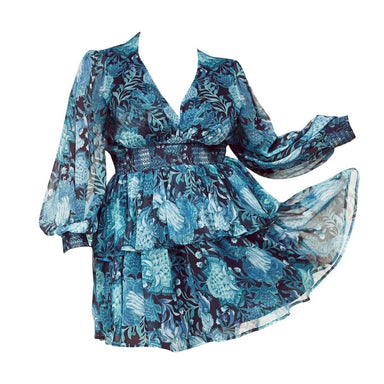 Posh Shoppe: Cobalt Blue Botanical Print Chiffon Mini Dress Dress
