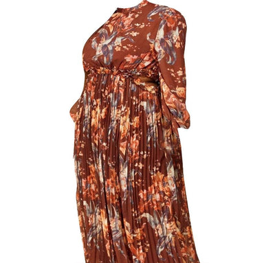 Posh Shoppe: Autumn Sunset Floral Print Maxi Dress Dress