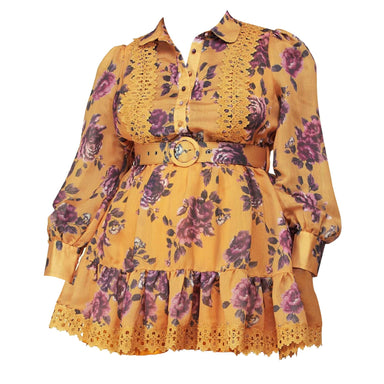 Posh Shoppe: Vintage Rose Print on a Mustard Yellow Fit And Flare Mini Dress Dress
