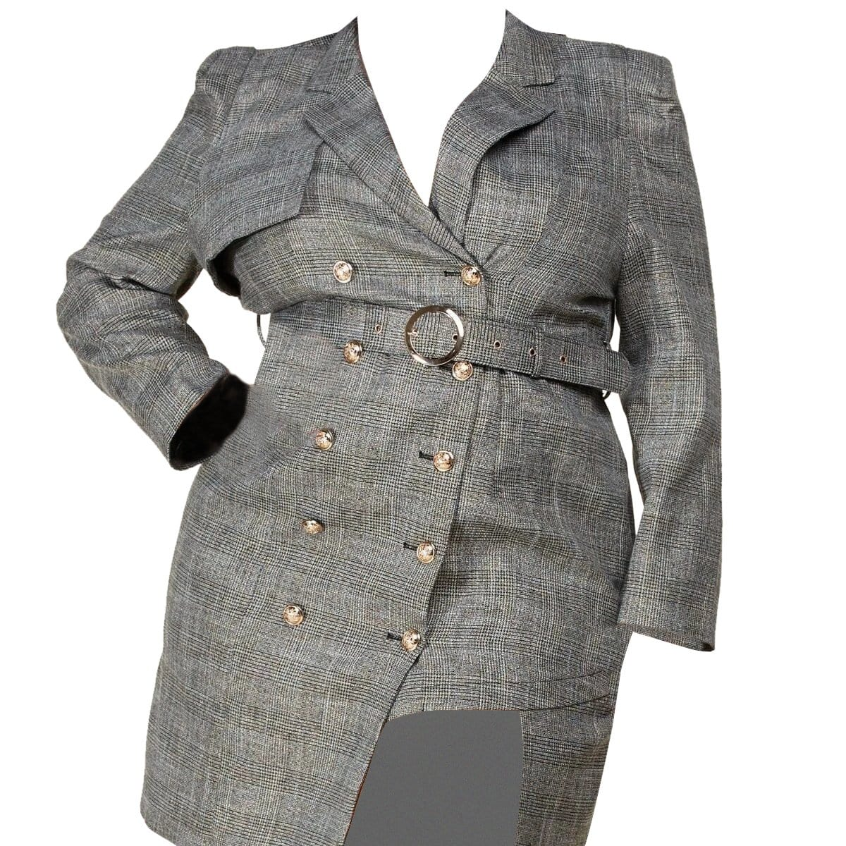 Posh Shoppe: Glen Plaid Unbalanced Blazer Dress Dress