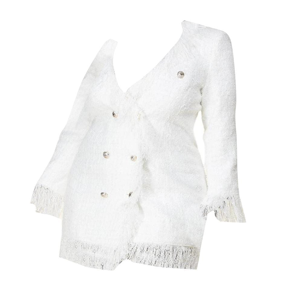 Posh Shoppe: Dreamy White Tweed Blazer Dress Dress