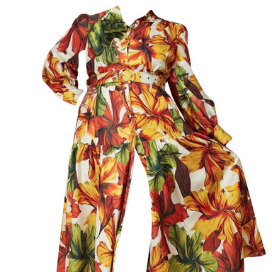 Posh Shoppe: Autumn Leaf Print Flounce Maxi Dress Dress