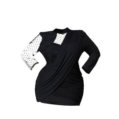 Posh Shoppe: Sweetheart Contrast Dotted Mesh Mini Dress Dress