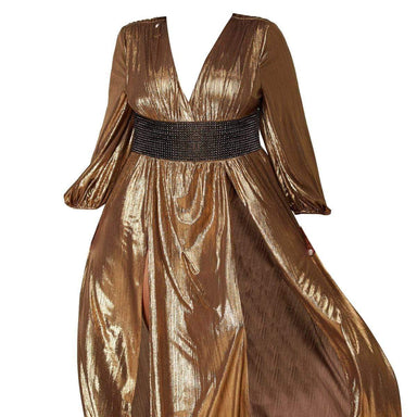 Posh Shoppe: Rustic Metallic Maxi Dress-Gold Dress