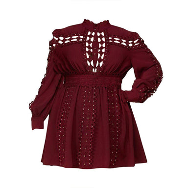 Posh Shoppe: Diamond Shape Crochet Red Plum Mini Dress Dress