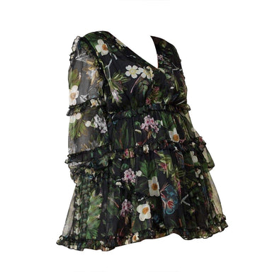 Posh Shoppe: Floral Print Mini Dress features Ruffle Details Dress