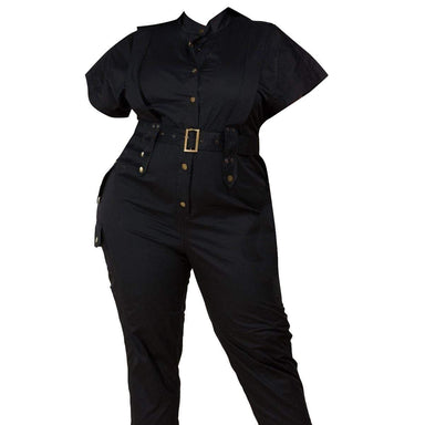 Posh Shoppe: Black Utility Jumpsuit Dress