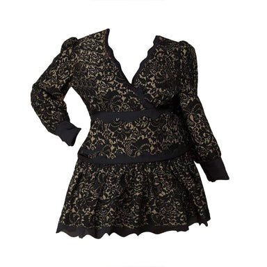Posh Shoppe: Lace tiered long Sleeve Mini Dress Dress