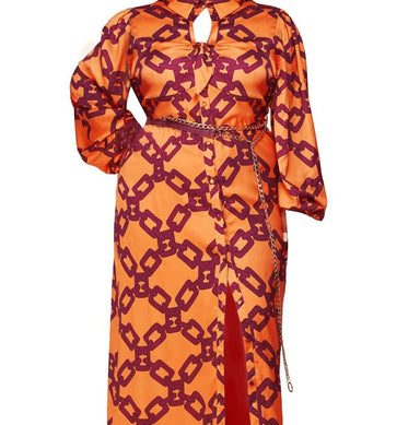 Posh Shoppe: Link Print Allover Orange Maxi Dress Dress