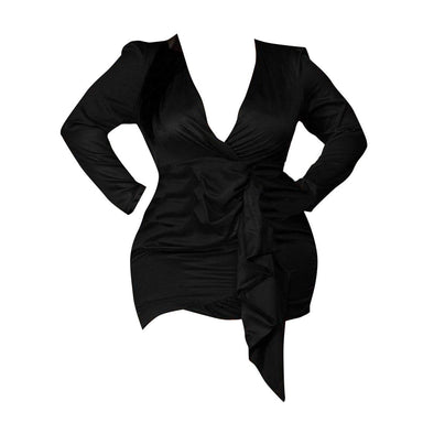 Posh Shoppe: Asymmetrical Bodycon Mini Dress-Black Dress