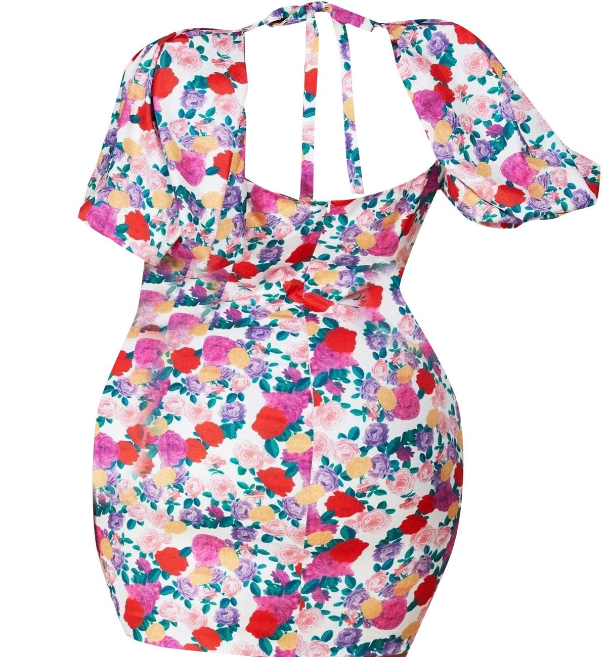Rose Floral Print Plus Mini Dress - Posh Shoppe