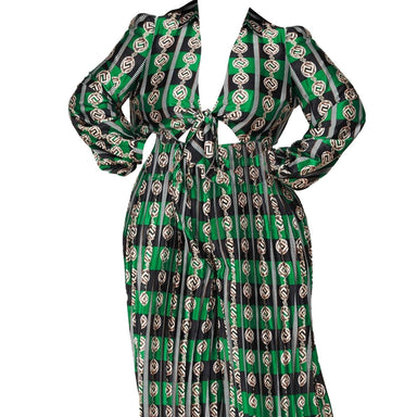 Posh Shoppe: Green Navy Mix Print Palazzo Jumpsuit Dress