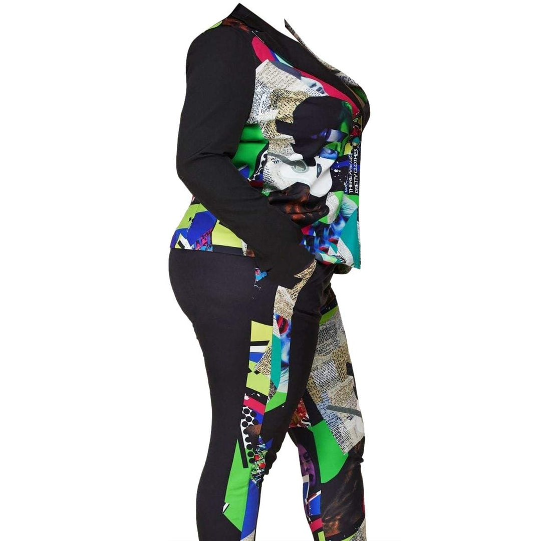Posh Shoppe: Pop Art Blazer with Straight-leg Pants Dress