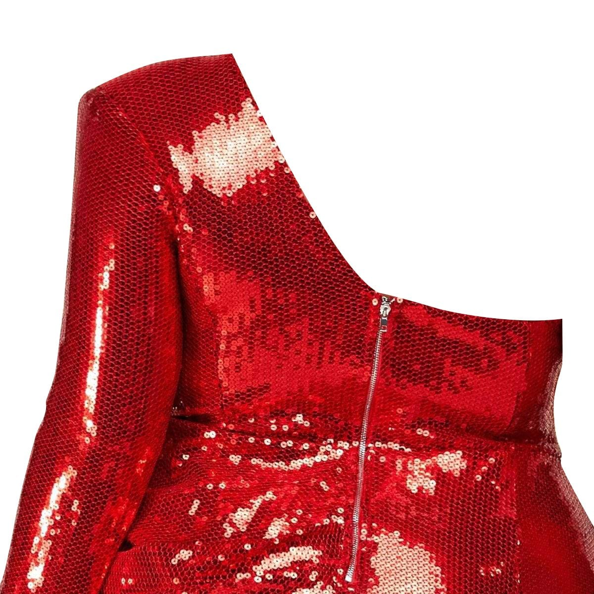 Passion Red Sequin Evening Dress - Posh Shoppe