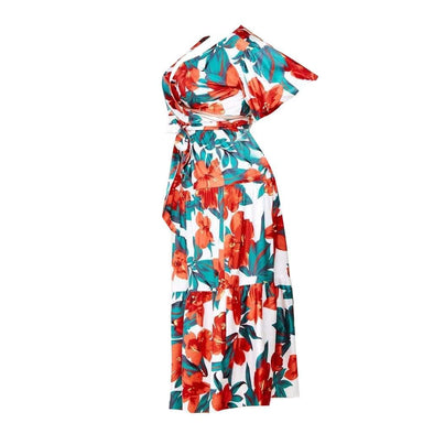 Posh Shoppe: Plus Size Blouse and Skirt Set, Tropical Floral Print Dress