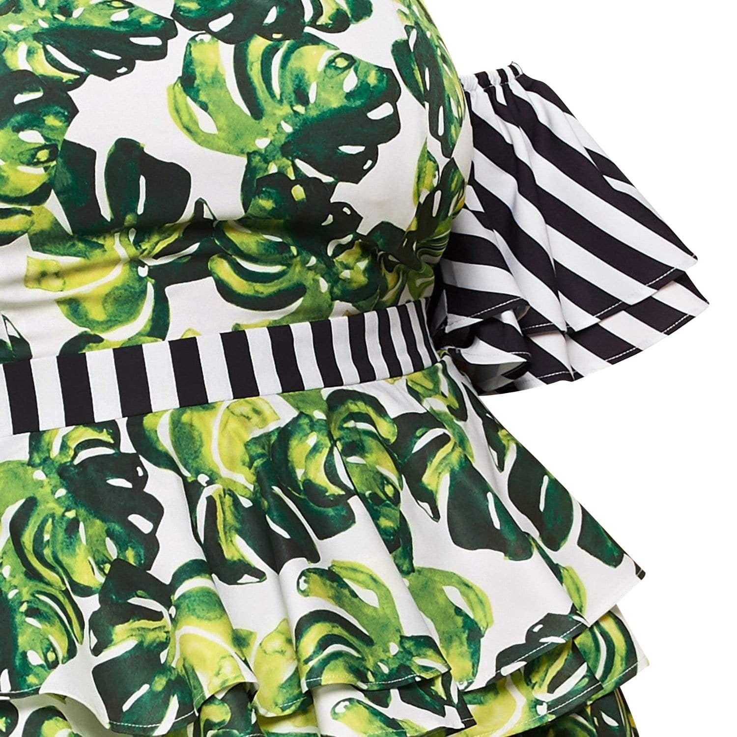 Posh Shoppe: Striped Tropical print Off-The-Shoulder Dress Dress