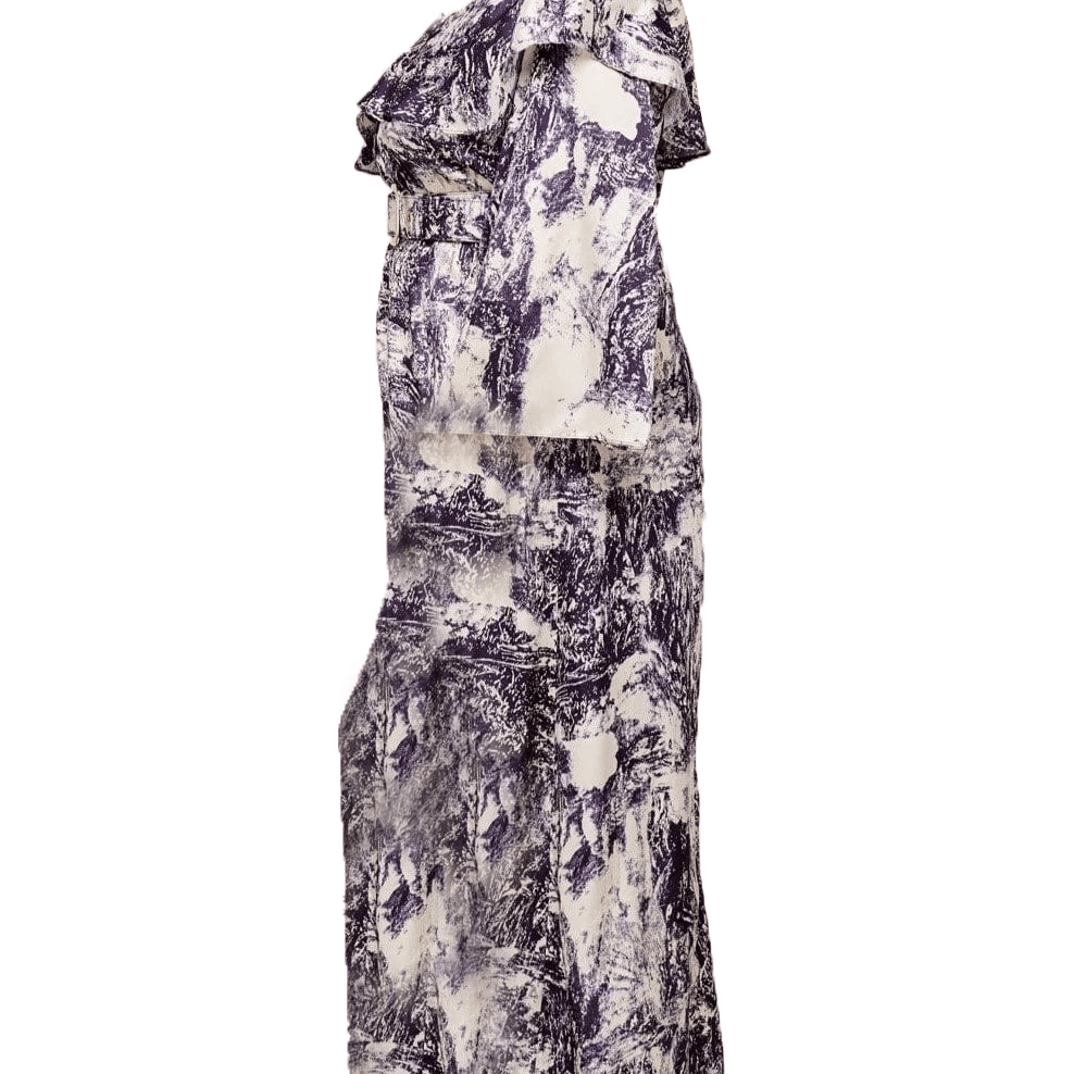 Posh Shoppe: Water print cold shoulder maxi dress Dress