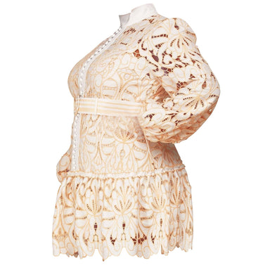 Posh Shoppe: White and Peach Intricate Crochet Lace Pattern Mini Dress Dress