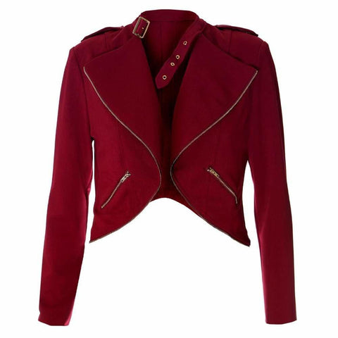 Plus Size Cropped Clasp Neck Jacket, Red