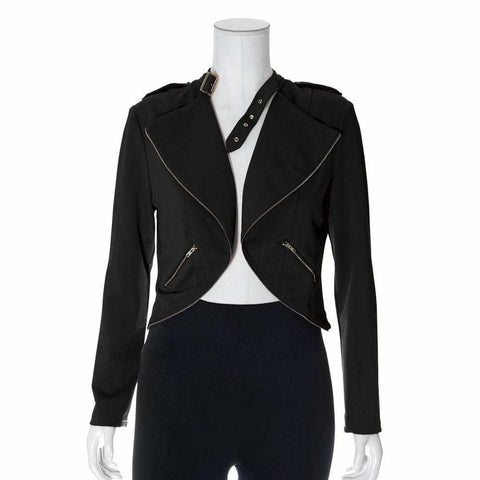 Plus Size Cropped Clasp Neck Jacket, Black