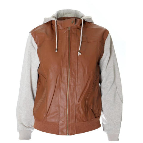 Plus Size Faux Leather Hooded Bomber Jacket, Cognac
