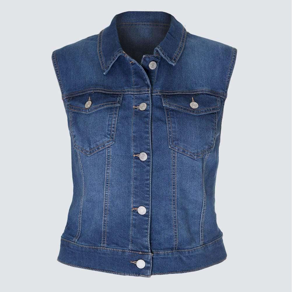 Posh Shoppe: Plus Size Jean Vest, Medium Wash Tops