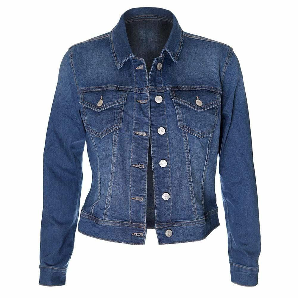 Plus Size Classic Denim Jacket, Medium Wash