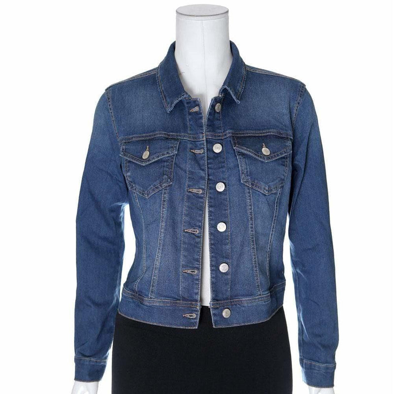 Posh Shoppe: Plus Size Jean Jacket, Medium Wash Outerwear