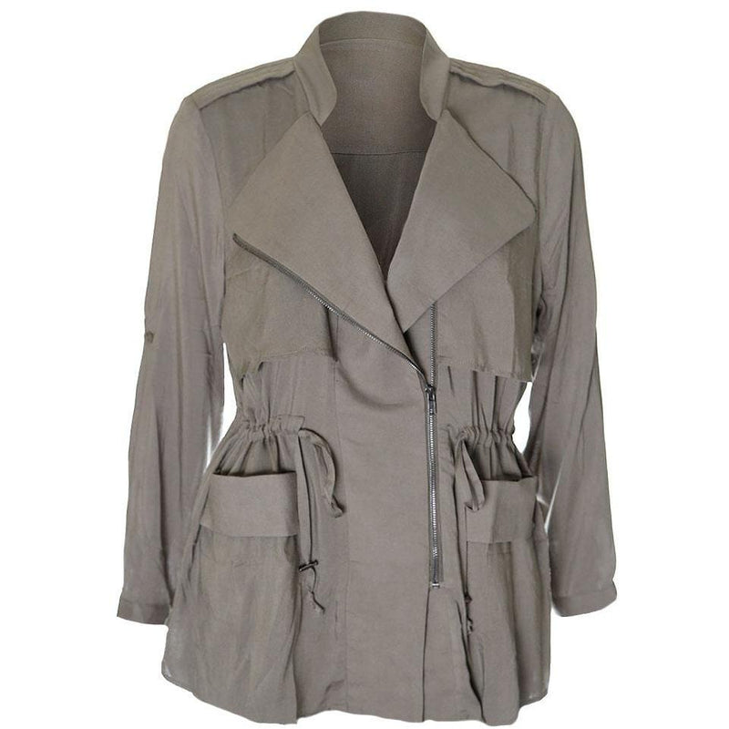 Posh Shoppe: Plus Size Drawstring Lightweight Safari Jacket, Khaki Green Outerwear
