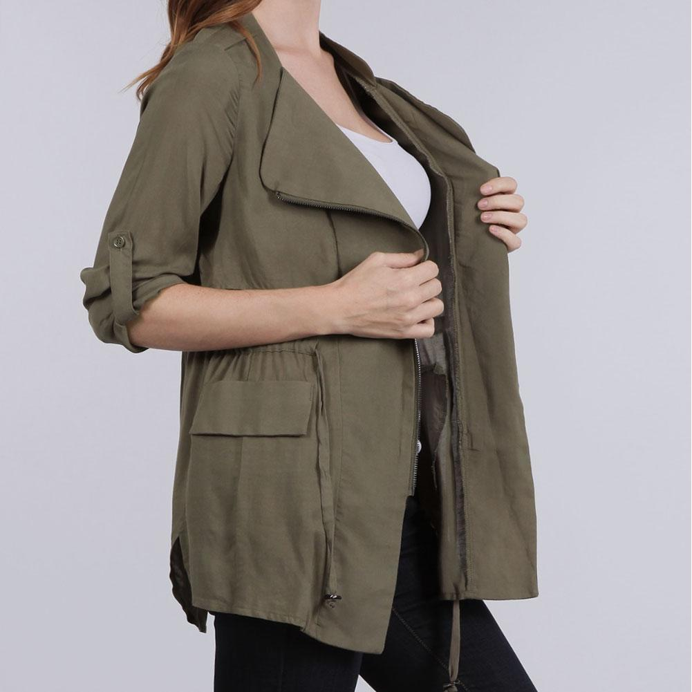 Plus Size Drawstring Lightweight Safari Jacket, Black