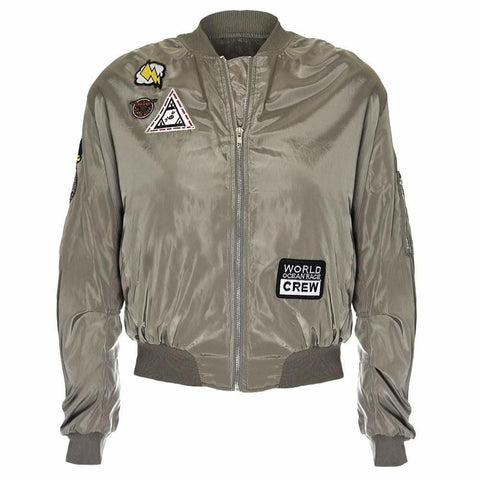 Plus Size Bomber Jacket with Patches, Army Green