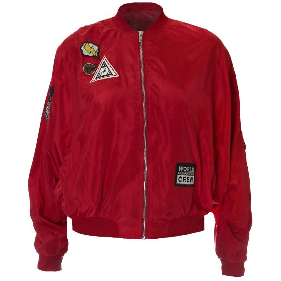 Plus Size Bomber Jacket with Patches, Red