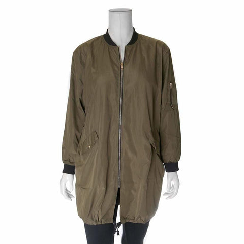 Plus Size Sateen Long Bomber, Military Green