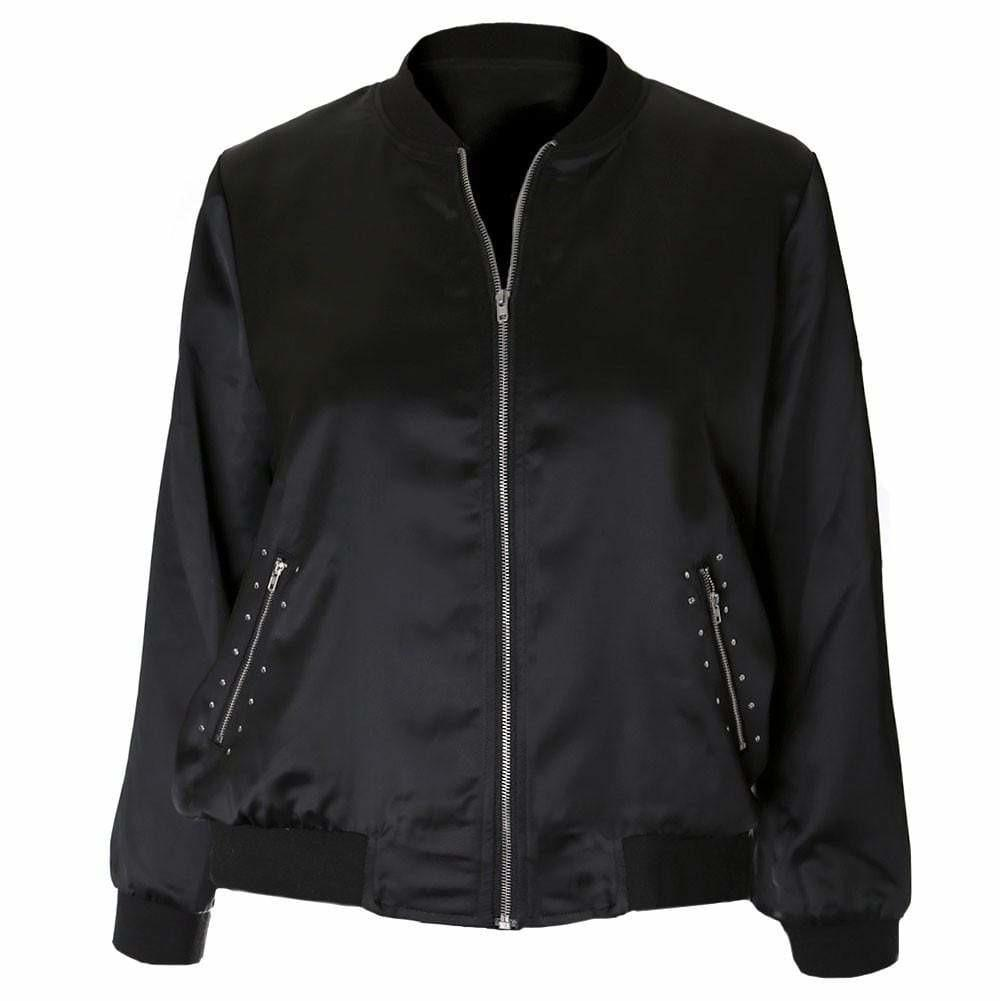 Posh Shoppe: Plus Size Studded Sateen Bomber Outerwear