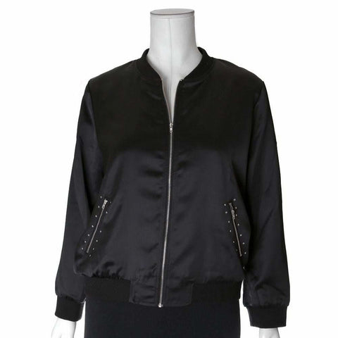 Plus Size Studded Sateen Bomber