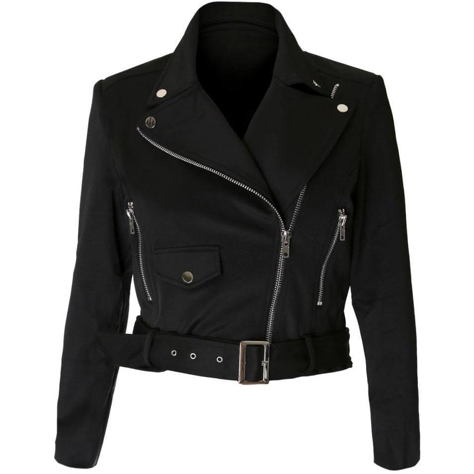 Plus Size Cropped Moto Jacket