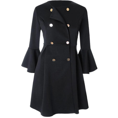 Plus Size Bell Sleeve Double Breasted Dress Coat, Black and Gold