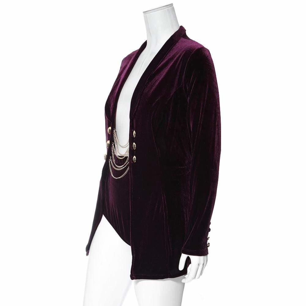 Posh Shoppe: Plus Size 2 Piece Velvet Blazer and Bottoms Set, Purple Outerwear