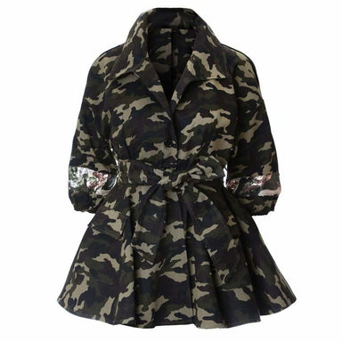 Posh Shoppe: Plus Size Peplum Camo Jacket with Sequins Outerwear